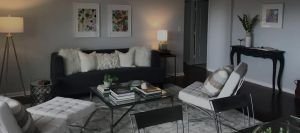 living room redesign couch two chairs pictures lamps