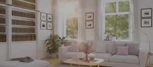 living room with white sofa white shelves sun coming in through windows