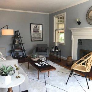 living room with white rug grey walls black open bookshelf