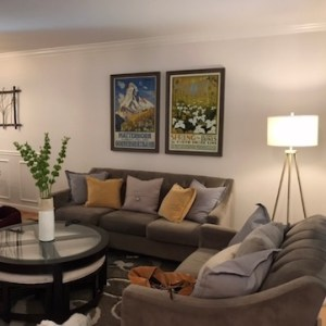 grey couch yellow lavender pillows