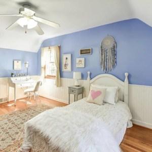 lavender bedroom white comforter white desk