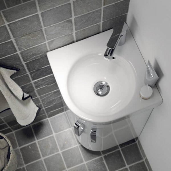twyfords e200 corner vanity unit basin 320mm in grey or white