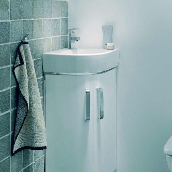 geberit selnova compact corner vanity unit basin 320mm in gloss white