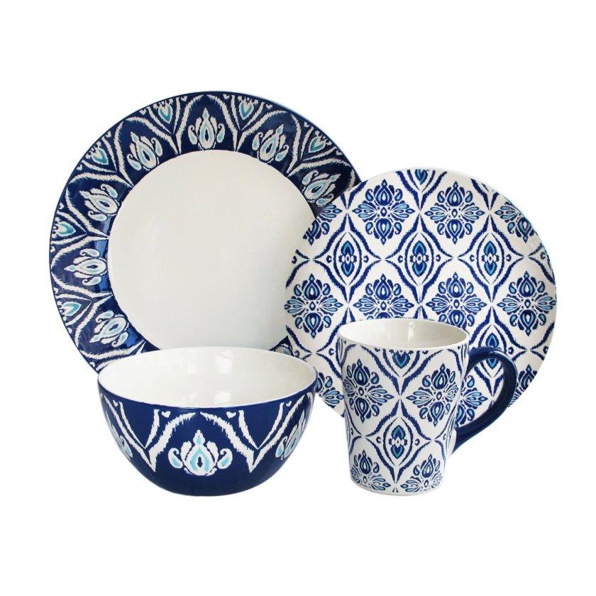 blue white dinnerware set