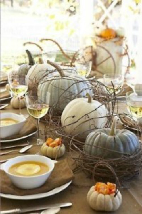 Decorate Fall Kitchen with White Pumpkins and Gourds