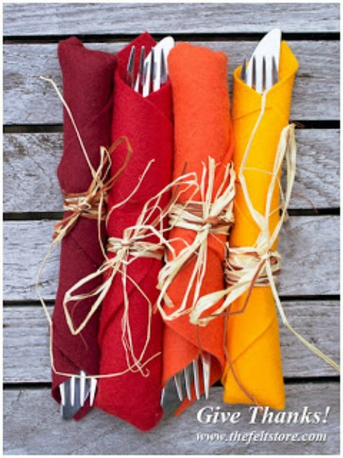 Colorful Fall Kitchen Napkin Rolls
