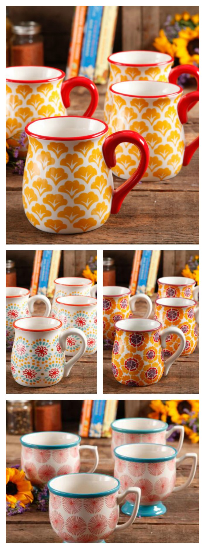 15 Ounce Pioneer Woman Coffee Cups are perfect for coffee, tea or any hot beverage. So pretty and yet so useful. What is your favorite color?