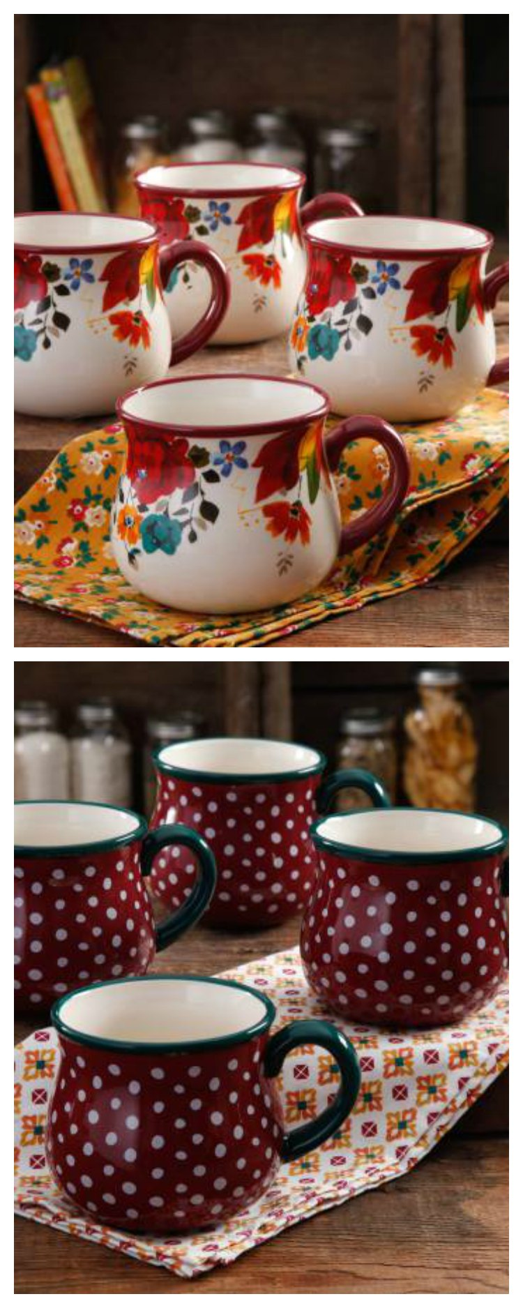 28 Ounce Pioneer Woman Coffee Cups are perfect for coffee, tea or any hot beverage. So pretty and yet so useful. What is your favorite color?