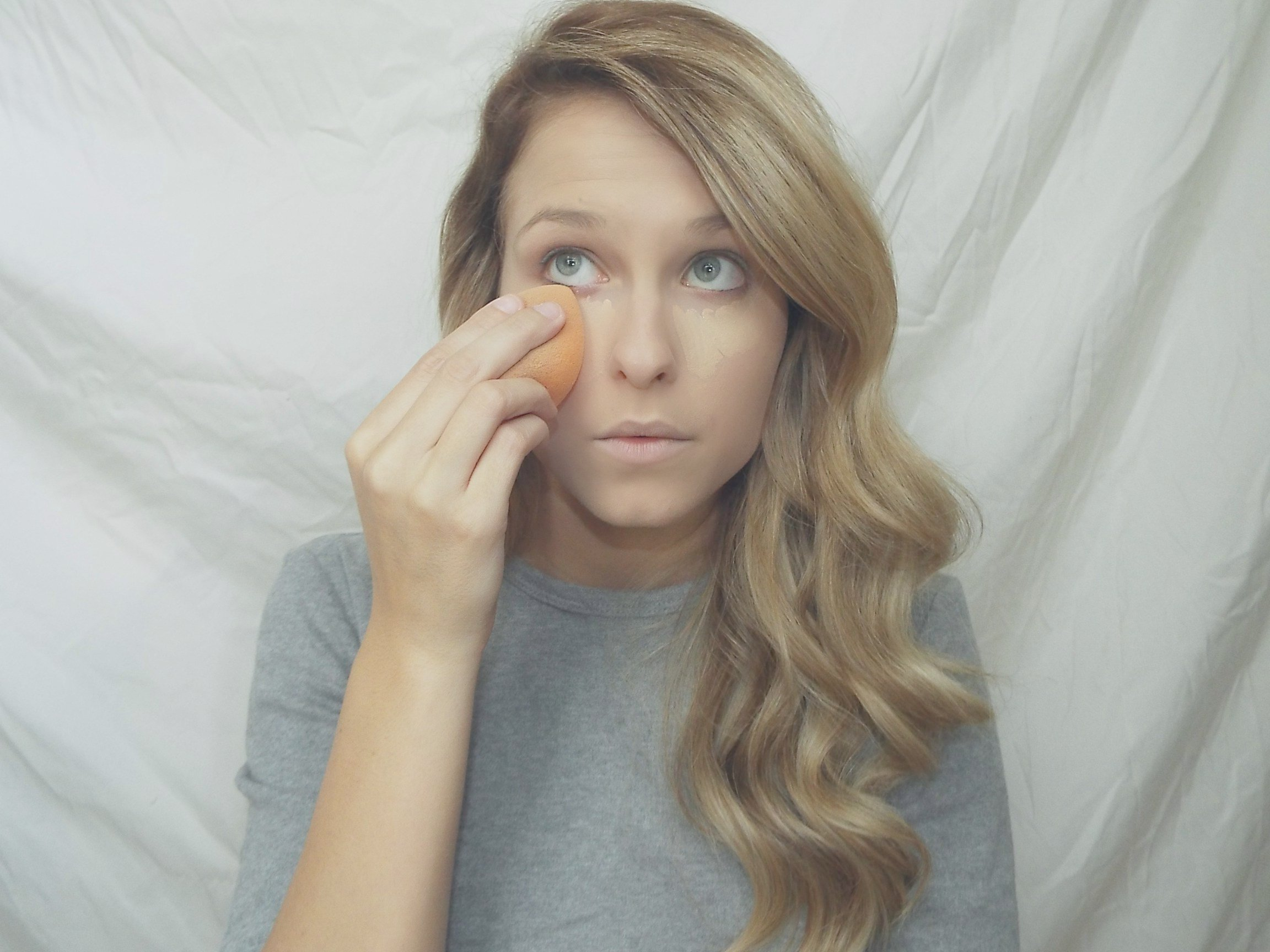 Makeup tutorial simply bethany i then take my real techniques sponge and blend out the concealer dont make any swiping motions just stick to dabbing i usually blend it out all the way baditri Choice Image