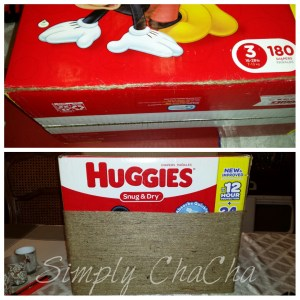 Glue twine to box and wrap shabby chic box DIY