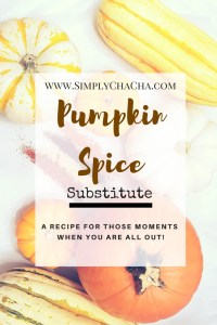 Pumpkin Spice Substitute Recipe {When you are all out!}