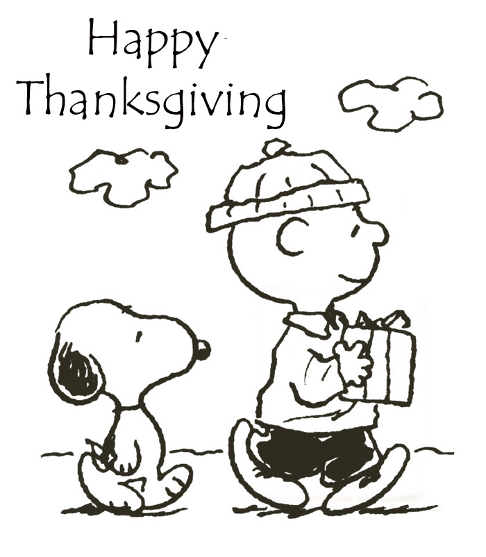 Charlie Brown & Snoopy Thanksgiving coloring page