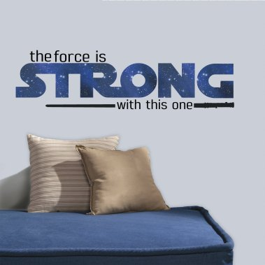 "BEst Gifts for Star Wars Fans - RoomMates RMK3077SCS Star Wars Classic The Force is Strong P&S Wall Decals, 35.25"" x 10"""