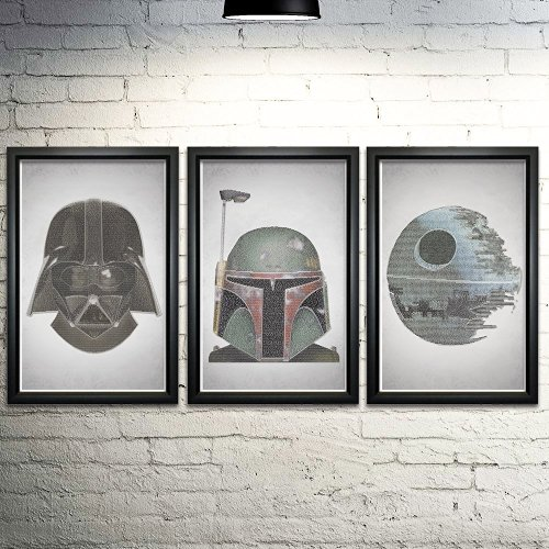 Best Gifts for Star Wars fans- HANDMADE Star Wars Word Art Print Three Set - 11x17""