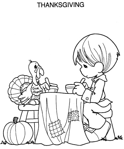 Turkey Thanksgiving coloring page for kids & toddlers - precious moments