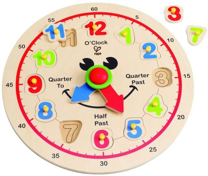 HOLIDAY GIFT GUIDE 2016 - STEM TOYS FOR TODDLERS: Hape - Happy Hour Clock - Time Learning Puzzle