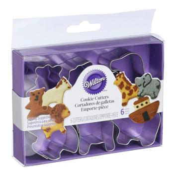 Easiest Frosted Animal Cracker Cookie Recipe Wilton mini Animal Cookie Cutters NOAHS ARK