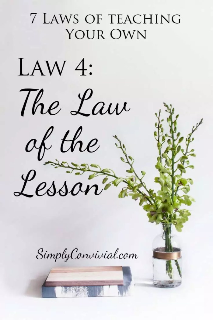 7 Laws of Teaching: Law 4, the Law of the Lesson.