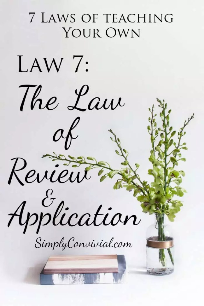7 Laws of Teaching: Law 7, the Law of Review and Application.