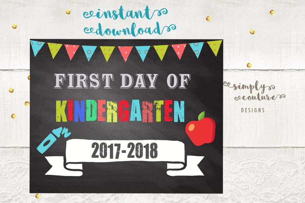 First Day Of School Chalkboard Style Sign