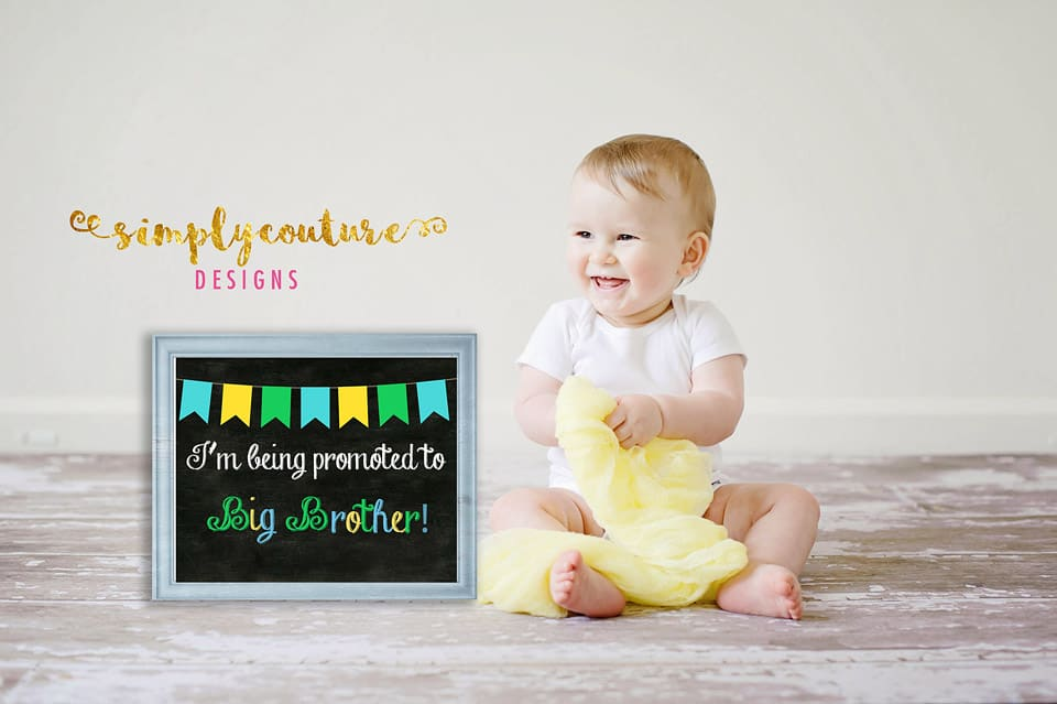 Free Printable Baby Big Brother Pregnancy Announcement Chalkboard Style Sign