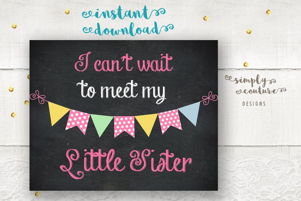 Baby Gender Reveal Chalkboard Style Sign, I can't wait to meet my little sister