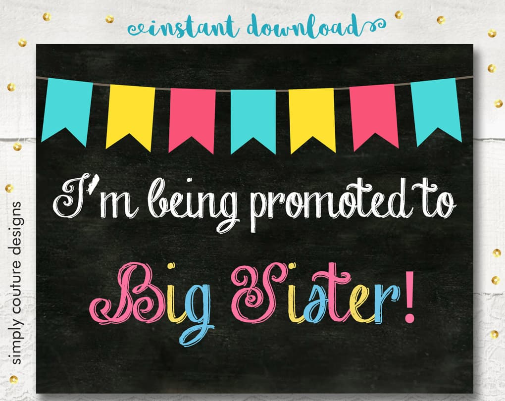 image about Printable Pregnancy Announcements named Free of charge Printable Little one Large Sister Being pregnant Announcement