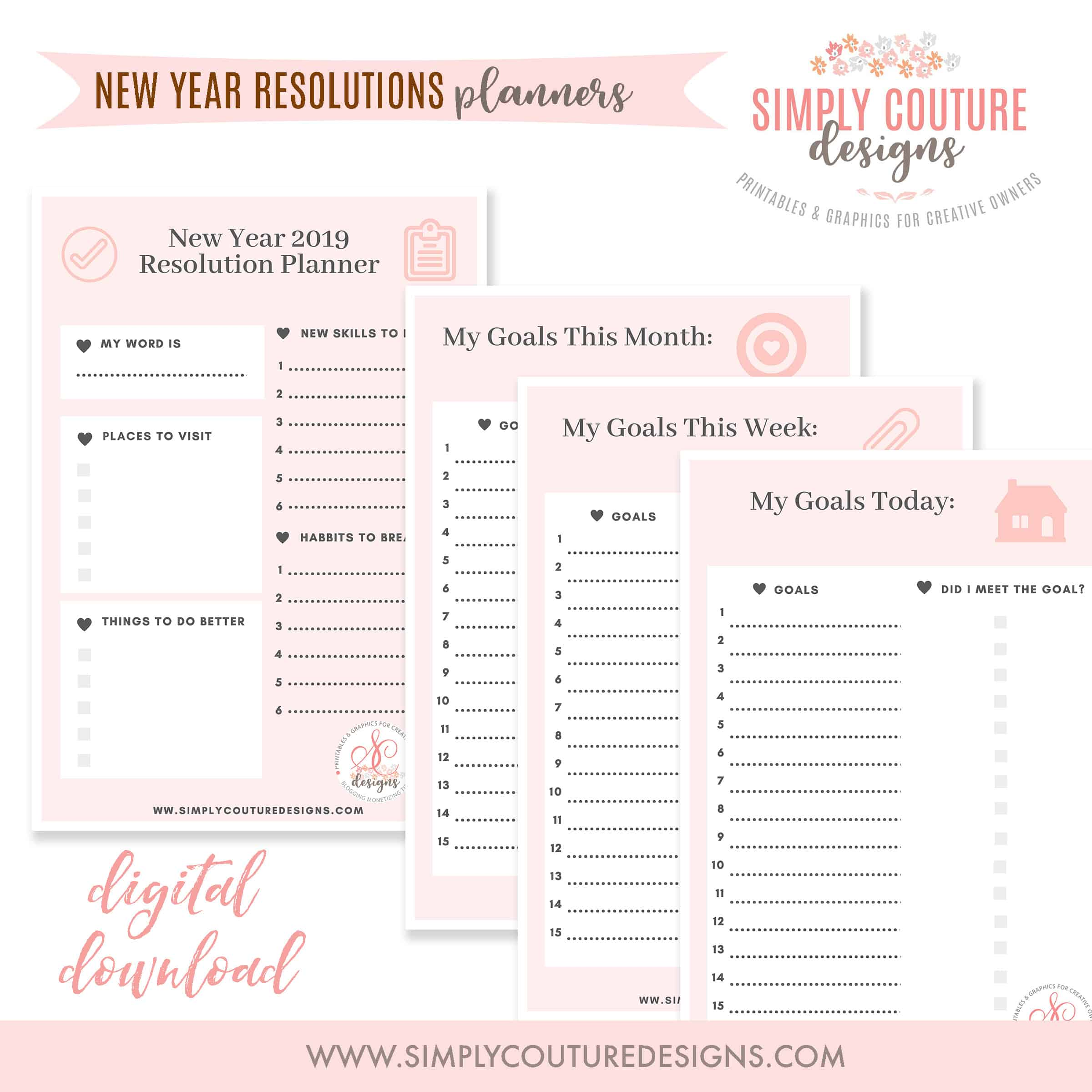 New Year S Resolution Checklist And Planner Printables