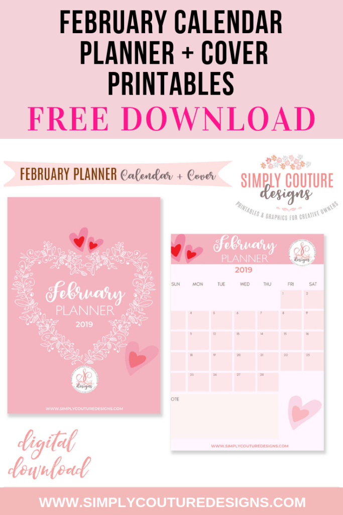 Free Printable February 2019 Calendar and Monthly Weekly Daily Planners