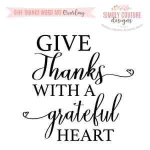Give Thanks Word Art Overlay PNG