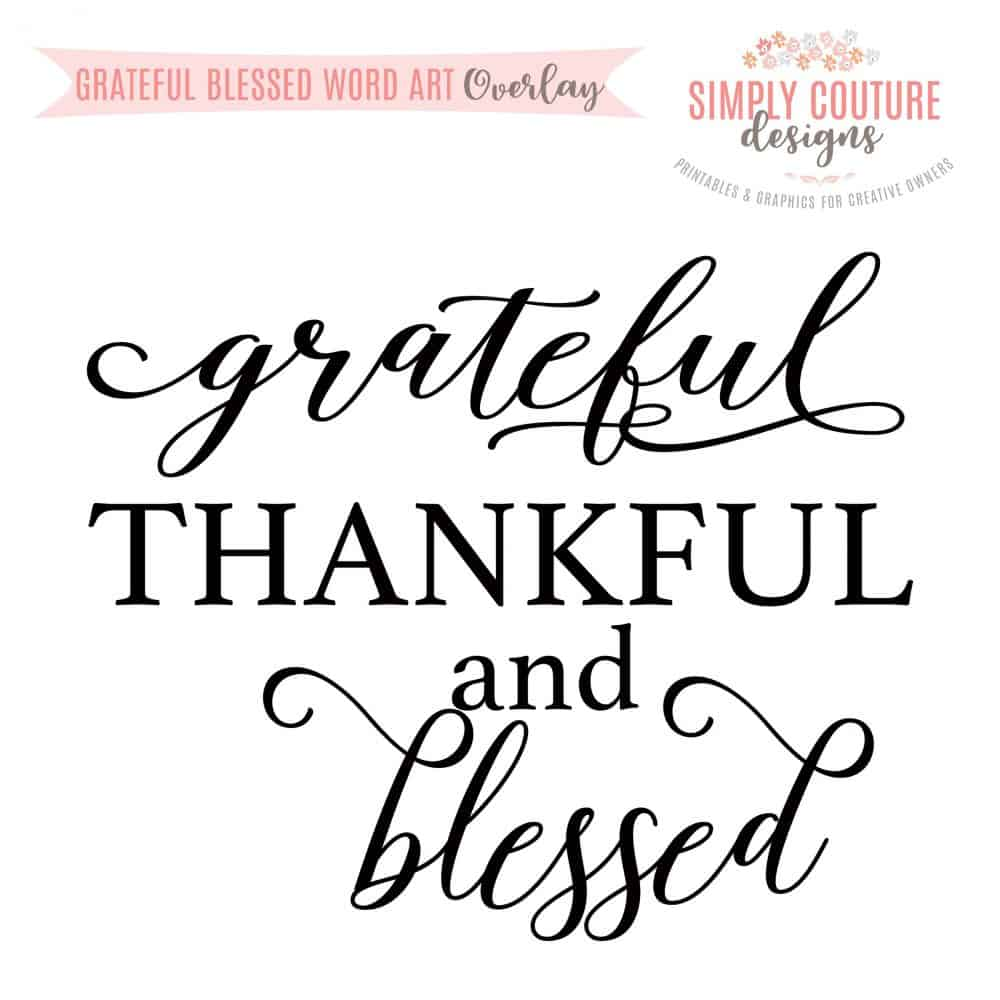 graphic about Printable Word Art known as Thankful Grateful And Fortunate Phrase Artwork Overlay PNG, Electronic Obtain
