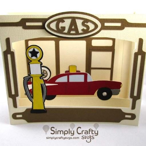 Gas Station Box Card SVG File