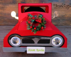 Vintage Red Truck with Christmas Tree Front