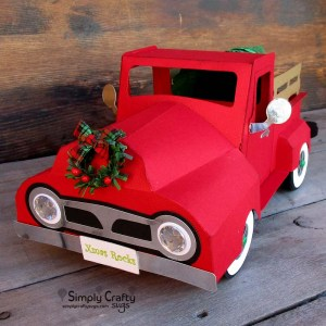Vintage Red Truck with Christmas Tree
