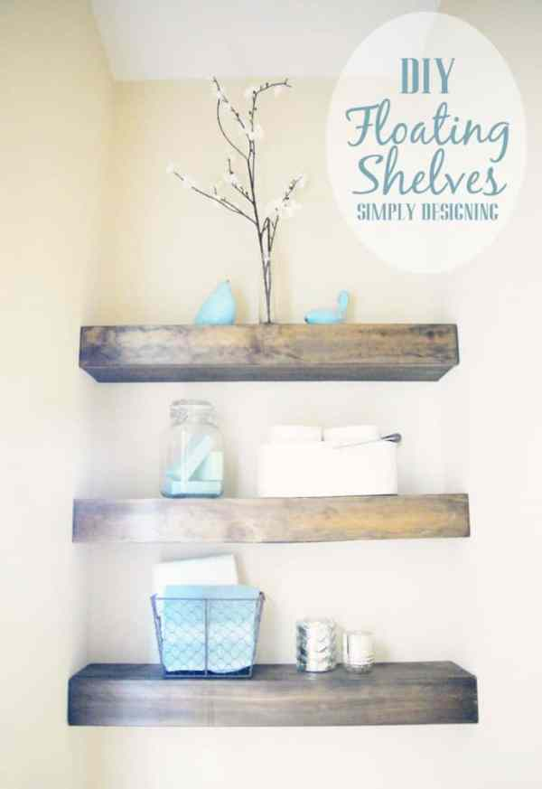 DIY Floating Shelves | how to build floating shelves - these make a perfect shelf for a bathroom or other small space