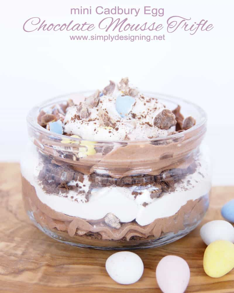 mini Cadbury Egg Chocolate Mousse Trifle | a perfect Easter or Spring Dessert | #dessert #recipe #easter #easterrecipe #trifle