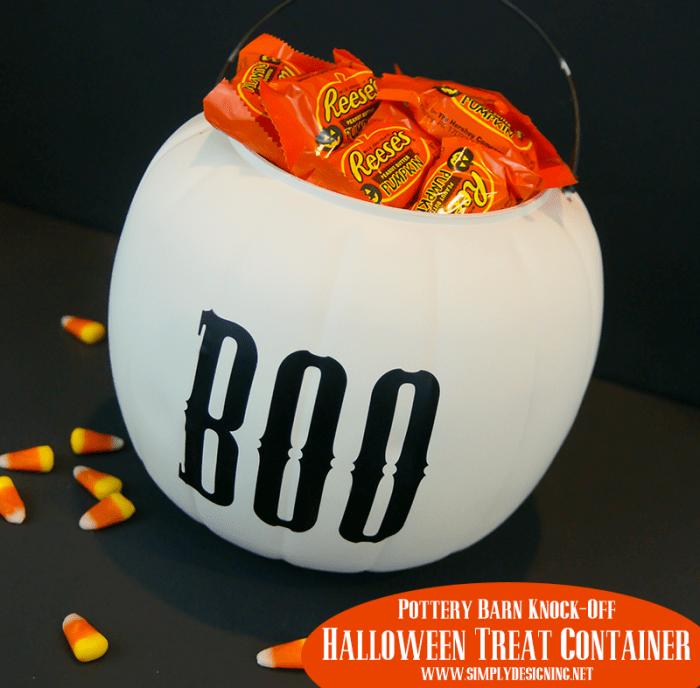 Halloween Treat Container | #halloween #halloweencraft #potterybarnknockoff