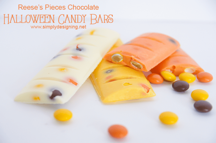 Peanut Butter Chocolate Candy Bar #halloween #candy #chocolate #fall #crafts