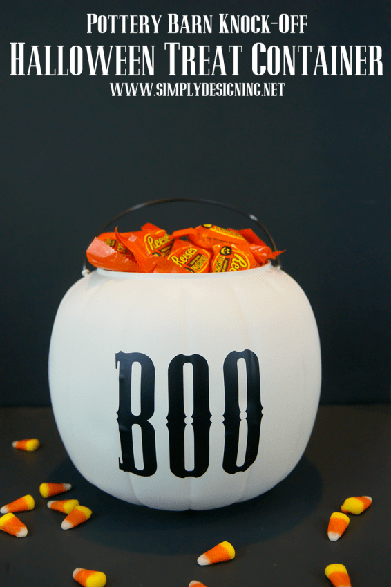 Pottery Barn Knock Off Halloween BOO Treat Container