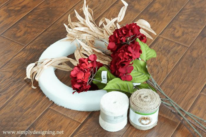 Supplies to make a Christmas Hydrangea Wreath