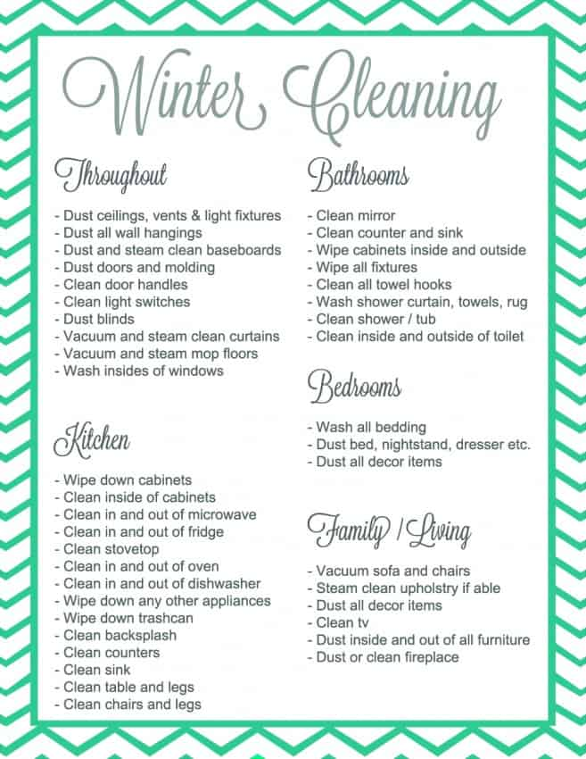 Winter Cleaning Checklist