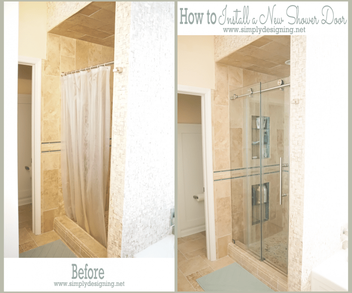 Before and After - New Glass Shower Door