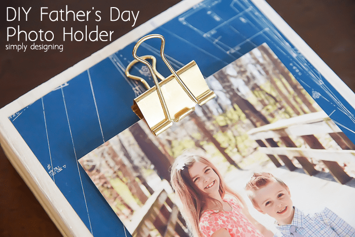 DIY Fathers Day Photo Holder with Gold Clip