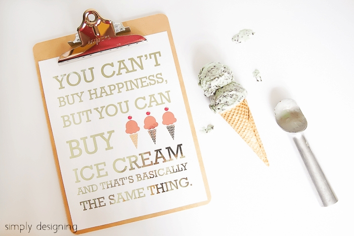 Ice Cream Foiled Artwork with free printable
