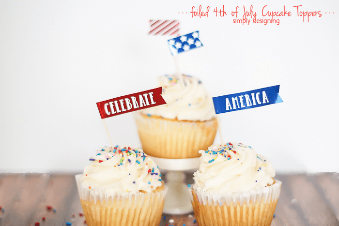 foiled 4th of July Cupcake Toppers