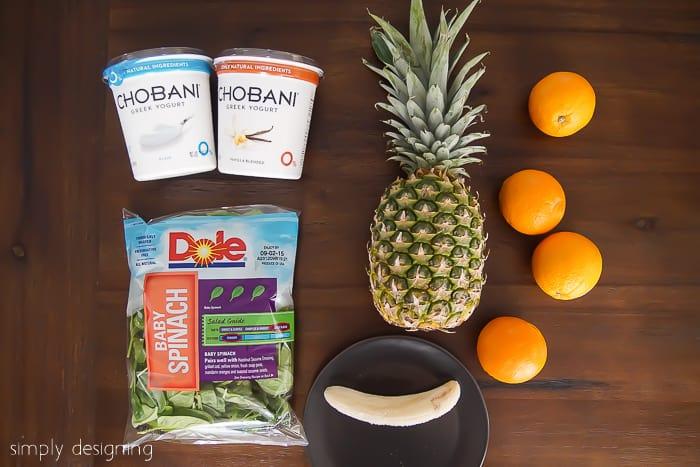Orange Pineapple Green Smoothie Recipe Ingredients
