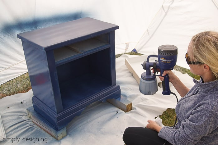Spray furniture with paint sprayer