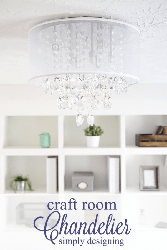 New Light Fixture - a perfect chandelier for a craft room or feminine office space
