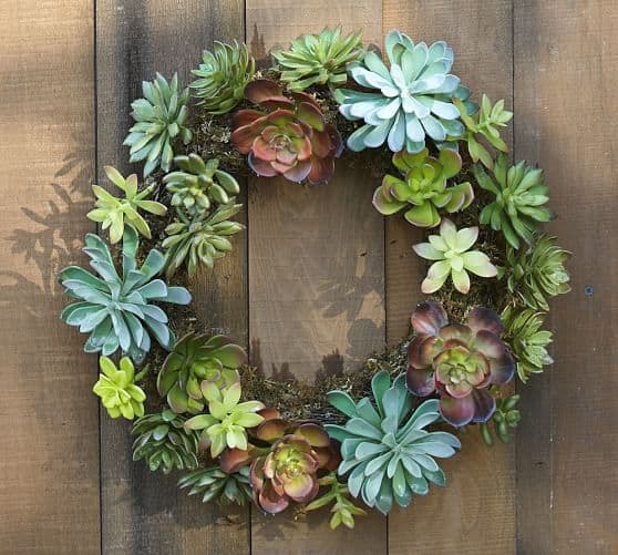 Faux Succulent Wreath Pottery Barn Knock Off