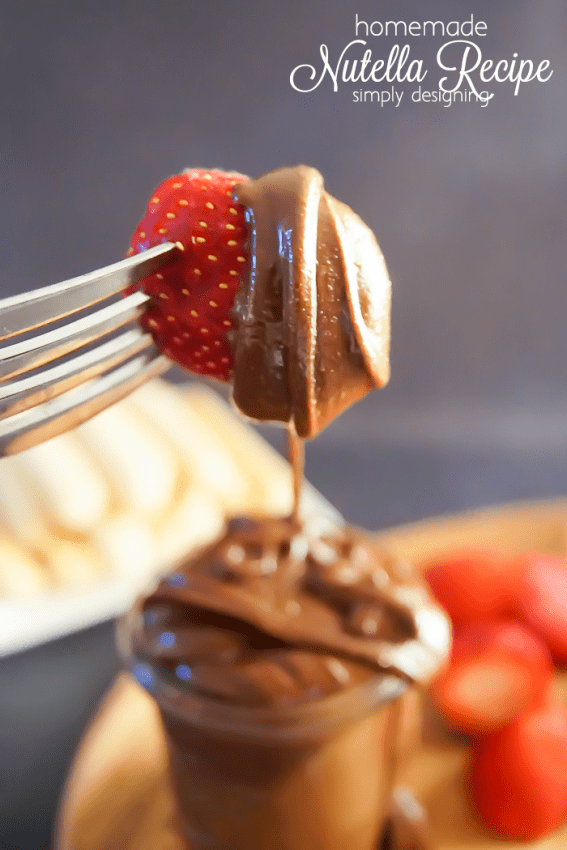 Homemade Nutella Recipe with Strawberries